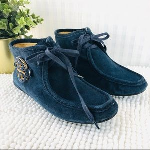 Tory Burch chukka booties flat navy suede lace up